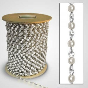 Beadlinx™ Beaded Chain White Glass Pearl 4mm on Silver Plate