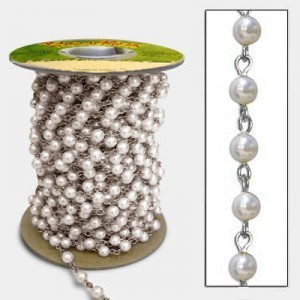 Beadlinx™ Beaded Chain White Glass Pearl 6mm on Silver Plate