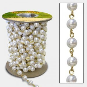 Beadlinx™ Beaded Chain White Glass Pearl 8mm on Gold Plate
