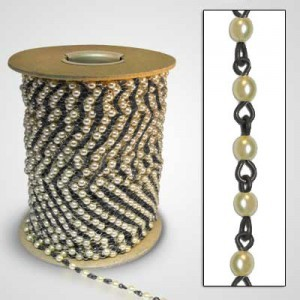 Beadlinx™ Beaded Chain Cream Glass Pearl 4mm on Black Finish