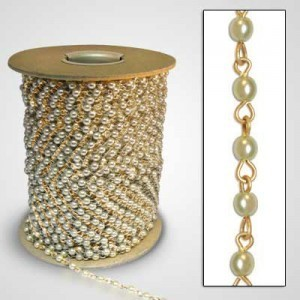 Beadlinx™ Beaded Chain Cream Glass Pearl 4mm on Gold Plate