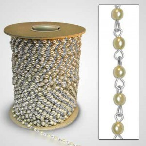 Beadlinx™ Beaded Chain Cream Glass Pearl 4mm on Silver Plate