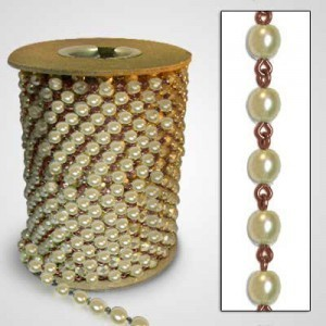 Beadlinx™ Beaded Chain Cream Glass Pearl 6mm on Brass Ox