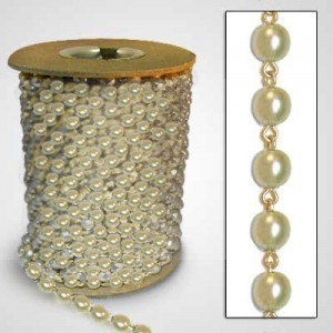 Beadlinx™ Beaded Chain Cream Glass Pearl 8mm on Gold Plate