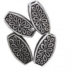 12x6mm Fancy Squared Oval Bead Antique Silver