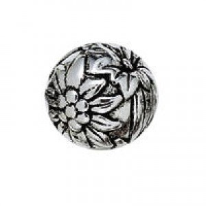 20mm Large Hole Flowered Round Bead Antique Silver