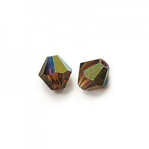6x6mm Smoke Topaz AB Czech MC Rondelles