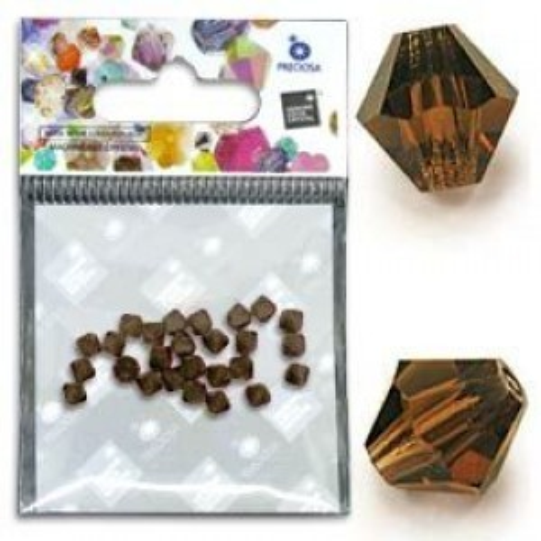 Preciosa® MC Bicone Bead 3mm Smoke Topaz - Pkg of 32