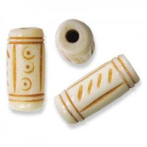 0.75 Inch Antiqued Hand Carved Bone Tube 50pcs