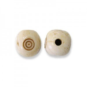 10mm Antiqued Hand Carved Rounded Bone Cube Bead 50pcs