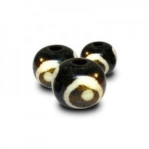 0.5 Inch Black W/ Ivory Circles Round Bone Bead 50pcs