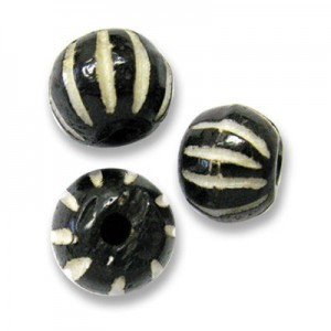 0.5 Inch Black Hand Carved Round Bone Bead 50pcs