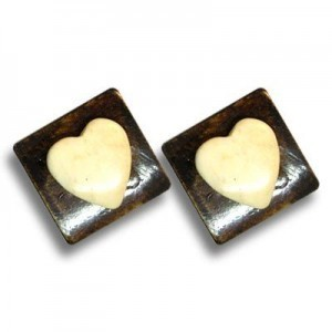 1 Inch Ivory Heart on Coffee 4-Row Bone Spacer 20pcs