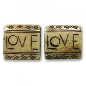 1 Inch Antiqued W/ Word Love 4-Row Hand Carved Square Bone Spacer 20pcs