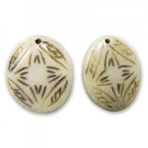 1 Inch Antiqued Hand Carved Oval Bone Pendant Front To Back Drilled 50pcs