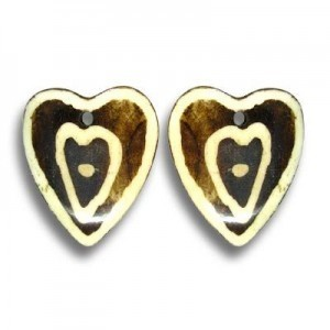 1.25 Inch Coffee W/ Ivory Heart Bone Pendant 20pcs