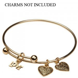 Add-A-Charm Expandable Bracelet with 6mm Ball and Jump Ring Matte Gold