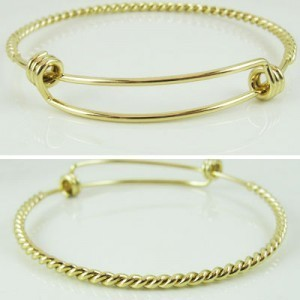 Add-A-Charm Twisted Wire Expandable Bracelet Gold Plate