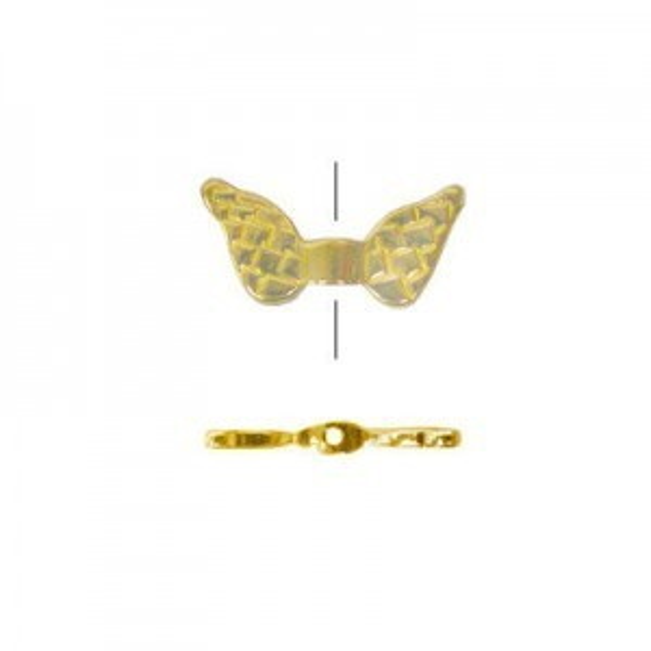 9x19mm Angel Wings Bead Brass Anti-Tarnish 10 Pcs
