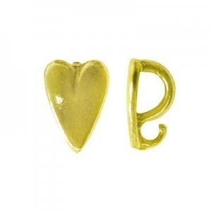 9mm Heart Pendant Bail W/ Hidden Loop Brass Anti-Tarnish 20 Pcs