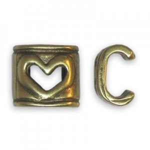 6x6mm Heart Connector for One Round Cord of 4mm Or Two of 2mm - Brass Antique 6pcs