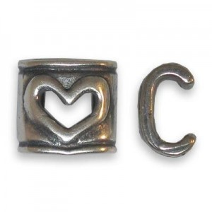 6x6mm Heart Connector for One Round Cord of 4mm Or Two of 2mm - Brass Antique Silver 6pcs