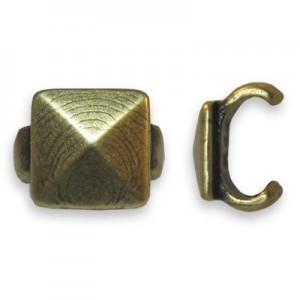 5x5mm Pyramid Stud Connector for One Round Cord of 4mm Or Two of 2mm - Brass Antique 6pcs