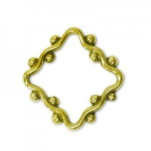 17mm Beaded Wavy Square Bead Frame for Up To 5mm Bead Brass Anti-Tarnish 10 Pcs