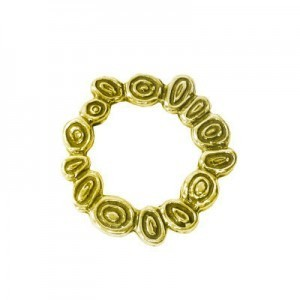 17mm Round Squiggles Bead Frame for Up To 8mm Bead Brass Anti-Tarnish 10 Pcs