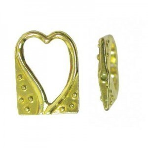 18x14mm Heart Bead Frame for Up To 6mm Bead Brass Anti-Tarnish 5 Pcs