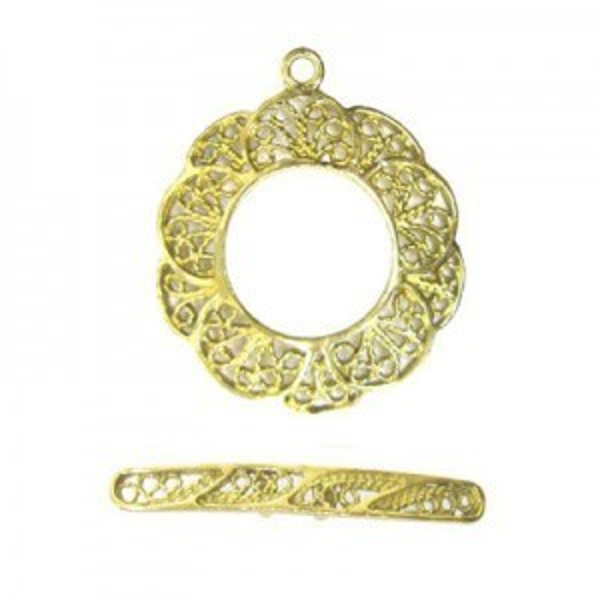 22mm Filigree Flower Ring + 28mm Filigree Toggle Bar Set Brass Anti-Tarnish 5 Sets