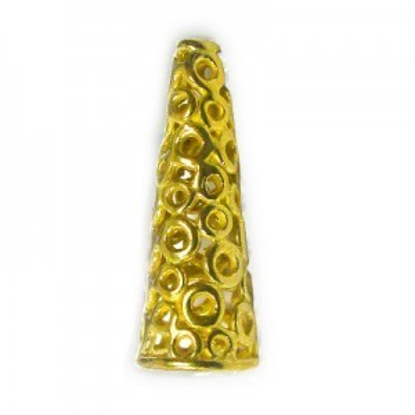 24x7mm Cone W/ Circle Pattern 7mm Id-A, 1.5mm Id-B Brass Anti-Tarnish 5 Pcs