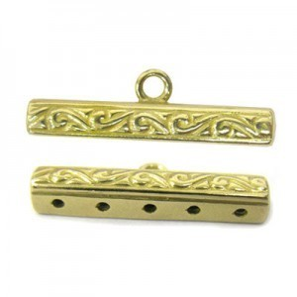 25x4mm 5 Row Patterned End Bar W/ Ring Brass Anti-Tarnish 6 Pcs