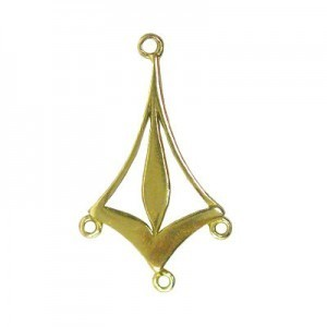 28mm 3 Ring Kite Shaped Chandelier Earring Component Brass Anti-Tarnish 10 Pcs