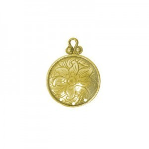 17mm 3 Hole Round Domed Chandelier Earring Component W/ Flower Design Brass Anti-Tarnish 10 Pcs