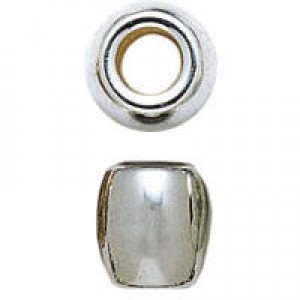 11mm Large Hole Barrel Bead Bright Silver