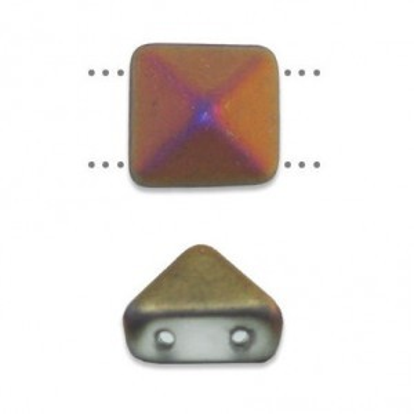 8mm Crystal Matte Sliperit Czech Glass Pyramid 2-Hole Beadstuds
