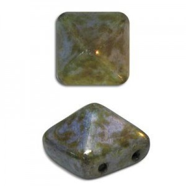 8mm Patina Czech Glass Pyramid 2-Hole Beadstuds