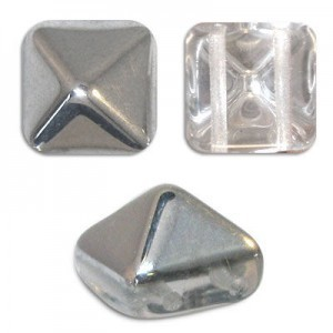 12mm Crystal Silver Czech Glass Pyramid 2-Hole Beadstuds