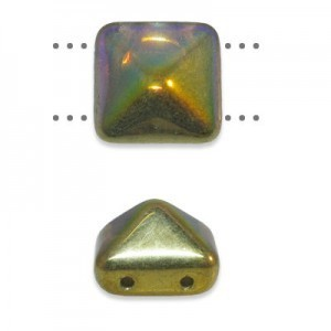12mm Opaque Abalone Czech Glass Pyramid 2-Hole Beadstuds