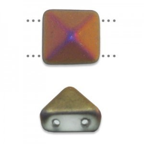 12mm Crystal Matte Sliperit Czech Glass Pyramid 2-Hole Beadstuds