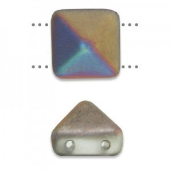 12mm Crystal Matte Vitex Czech Glass Pyramid 2-Hole Beadstuds