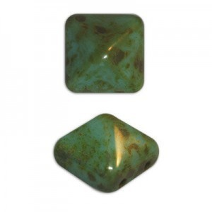 12mm Turquoise Picasso Czech Glass Pyramid 2-Hole Beadstuds
