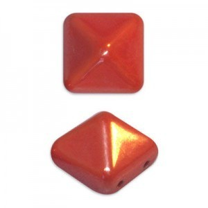 12mm Coral Shimmer Czech Glass Pyramid 2-Hole Beadstuds
