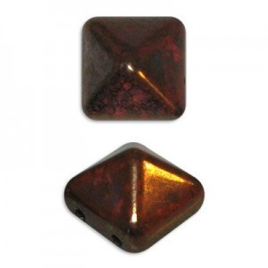 12mm Coral Bronze Czech Glass Pyramid 2-Hole Beadstuds