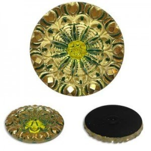 Gold/Green Glass Button-Top Cabochons Apx 28mm