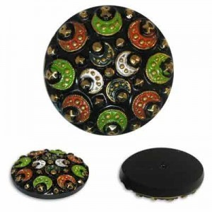 Colorful Halfmoons on Black Glass Button-Top Cabochons Apx 28mm