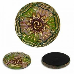 Golden Edge Flower Glass Button-Top Cabochons Apx 28mm