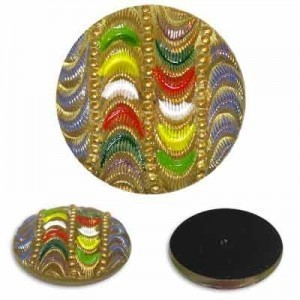 Tropical Waves Glass Button-Top Cabochons Apx 28mm
