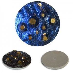 Galactic Sapphire/Gold Glass Button-Top Cabochons Apx 28mm